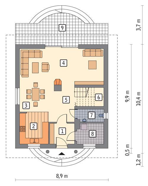 Rzut parteru POW. 68,4 m²