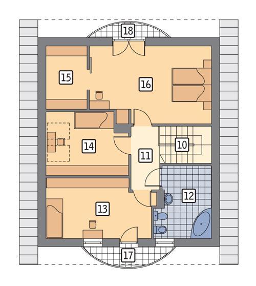 Rzut poddasza POW. 73,5 m²