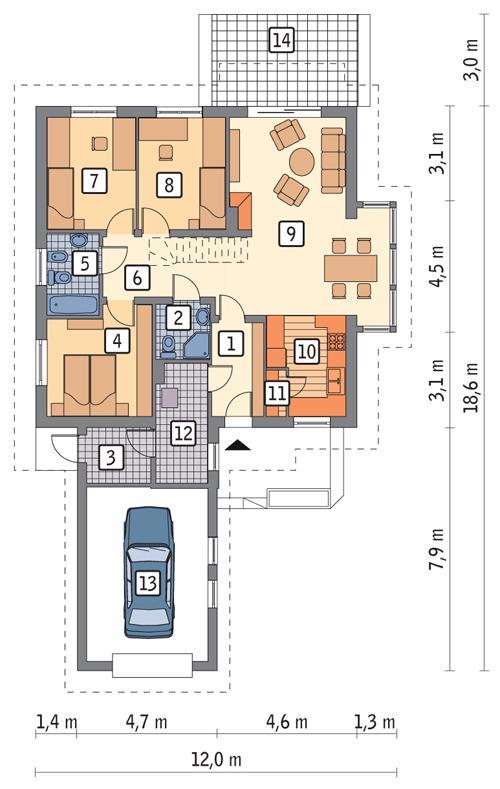 Rzut parteru POW. 122,6 m²