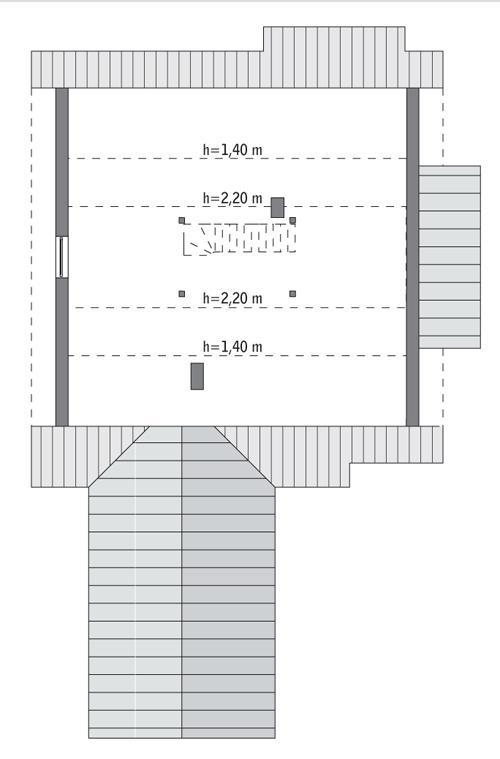 Rzut poddasza: do indywidualnej adaptacji (39,4 m2 powierzchni użytkowej)