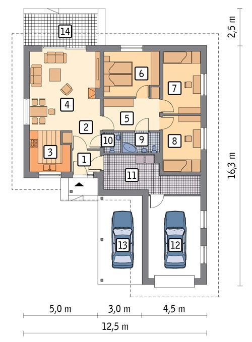 RZUT PARTERU POW. 112,4 m²