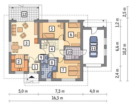 Rzut parteru POW. 112,6 m²