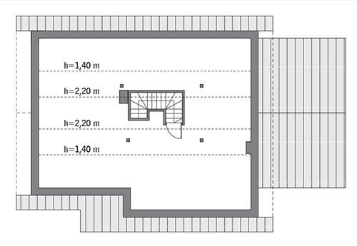 Rzut poddasza: do indywidualnej adaptacji (35,2 m2 powierzchni użytkowej)