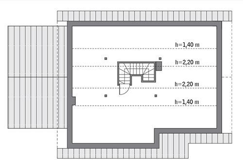 Rzut poddasza lustro: do indywidualnej adaptacji (35,2 m2 powierzchni użytkowej)