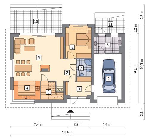 Rzut parteru POW. 107,4 m²