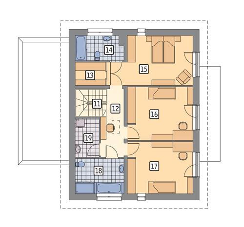 Rzut piętra POW. 87,4 m²