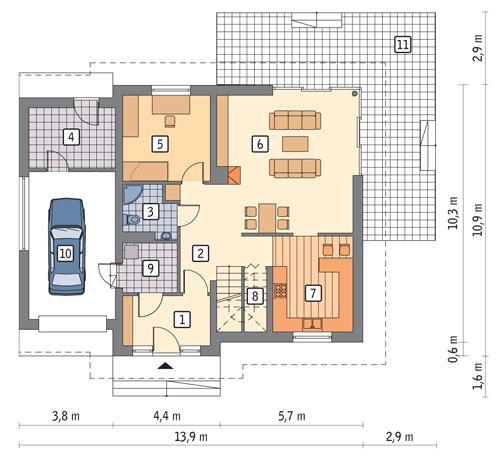 Rzut parteru POW. 108,9 m²