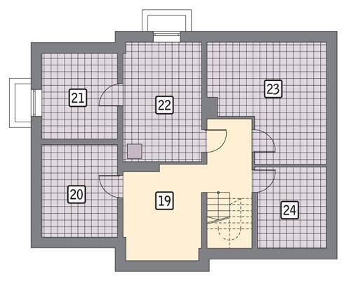 Rzut piwnicy POW. 105,1 m²