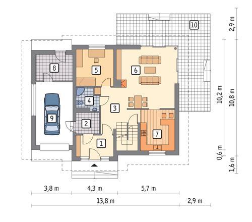 Rzut parteru POW. 105,2 m²