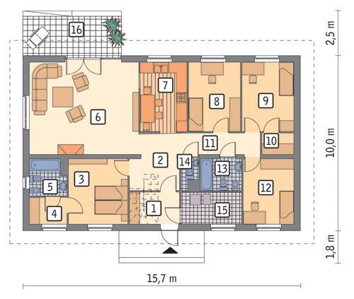 Rzut parteru POW. 123,8 m²