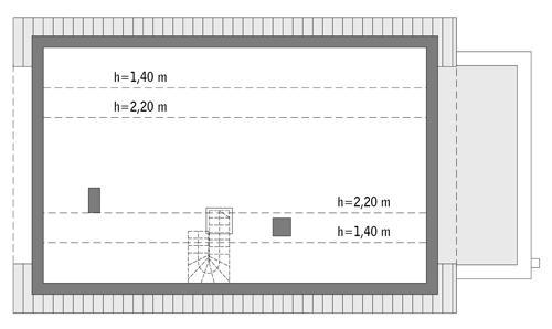 Rzut poddasza: do indywidualnej adaptacji (69,3 m2 powierzchni użytkowej)