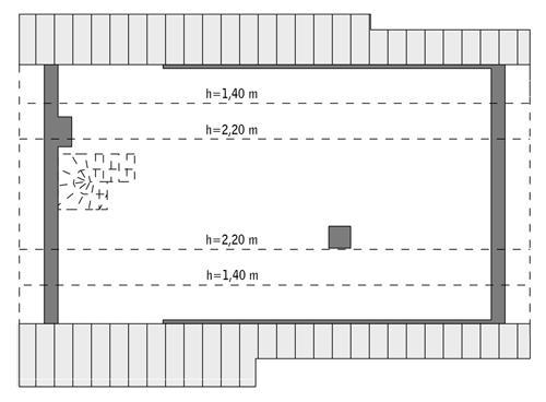 Rzut poddasza: do indywidualnej adaptacji (68,6 m2 powierzchni użytkowej)