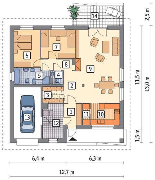 Rzut parteru POW. 124,1 m²