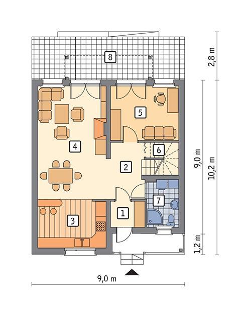 Rzut parteru POW. 67,1 m²