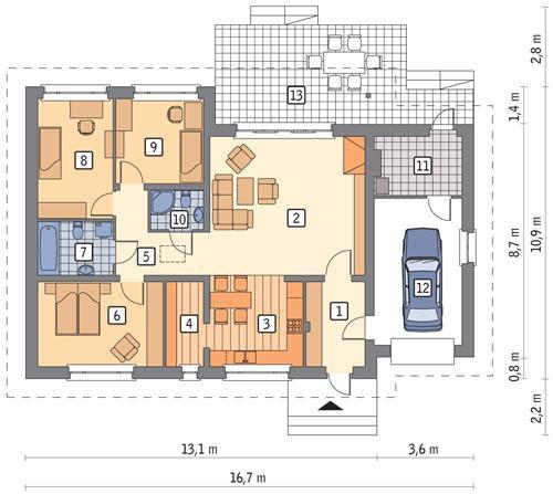 Rzut parteru POW. 129,4 m²