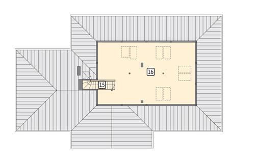Rzut poddasza: II etap realizacji - do indywidualnej aranżacji (37,9 m2 powierzchni użytkowej)