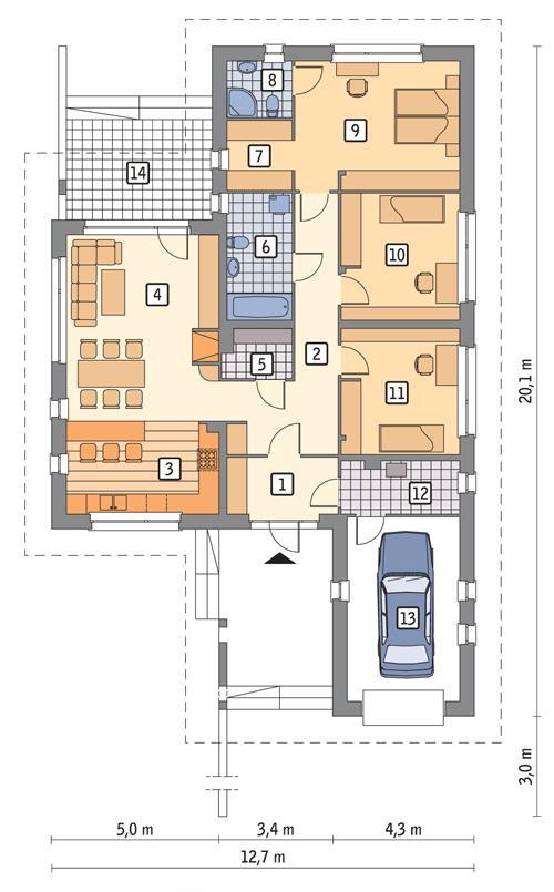 Rzut parteru POW. 144,9 m²