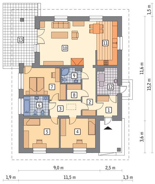 Rzut parteru POW. 122,4 m²