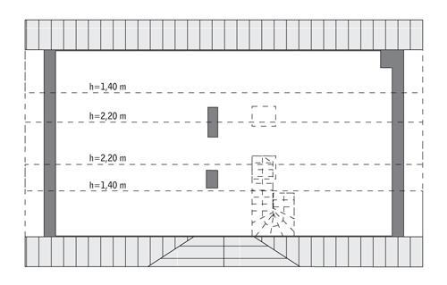 Rzut poddasza: do indywidualnej adaptacji (34,3 m2 powierzchni użytkowej)