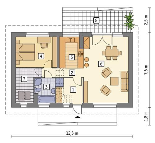 Rzut parteru POW. 71,7 m²