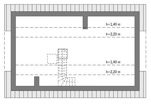 Rzut poddasza: do indywidualnej adaptacji (39,7 m2 powierzchni użytkowej)