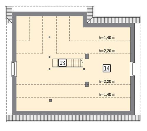Rzut poddasza: II etap realizacji - do indywidualnej aranżacji (62,3 m2 powierzchni użytkowej)