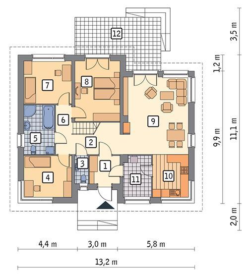 Rzut parteru POW. 107,3 m²