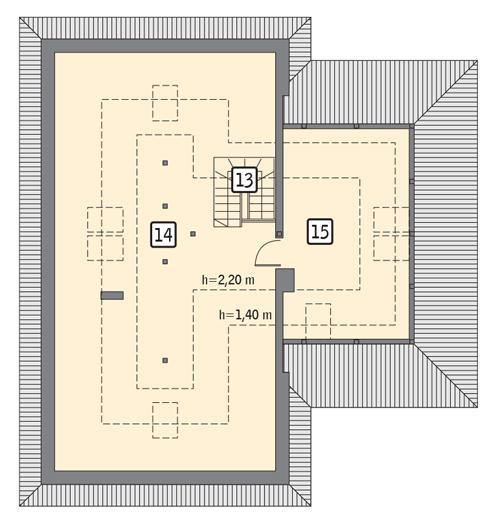 Rzut poddasza: II etap realizacji - do indywidualnej aranżacji (53,5 m2 powierzchni użytkowej)
