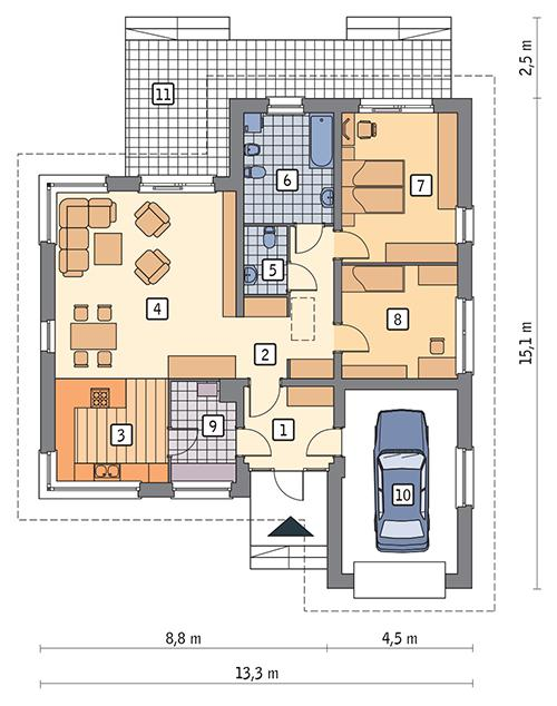 Rzut parteru POW. 124,4 m²