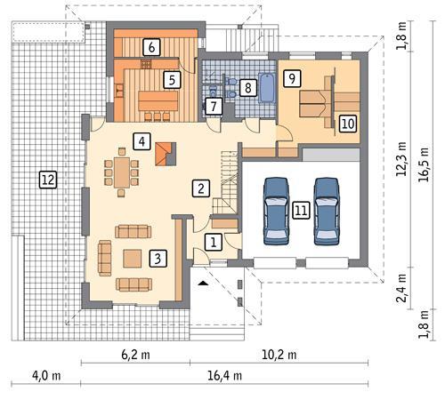 Rzut parteru POW. 178,5 m²