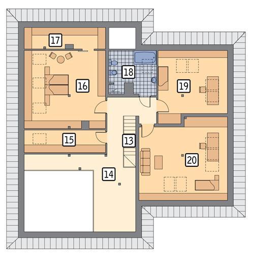 Rzut poddasza POW. 170,5 m²