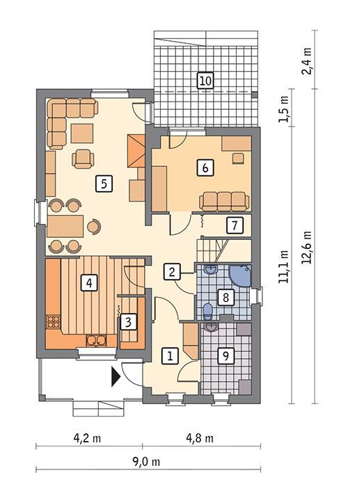 Rzut parteru POW. 76,1 m²