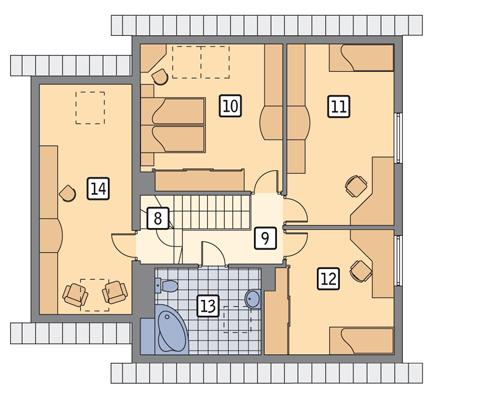 Rzut poddasza POW. 82,8 m²