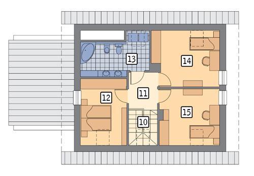 Rzut poddasza POW. 56,1 m²