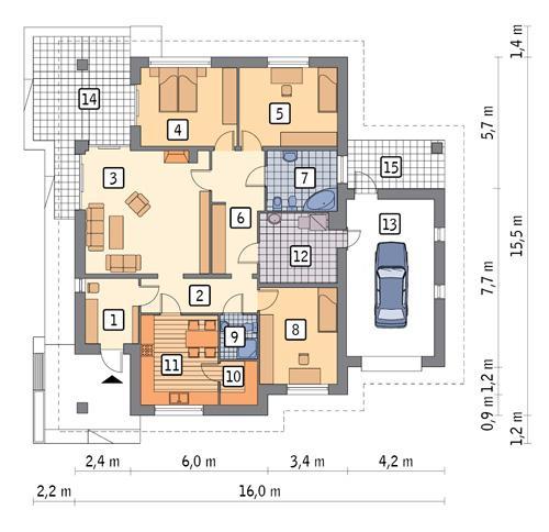 Rzut parteru POW. 156,5 m²