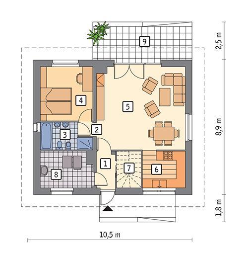 Rzut parteru POW. 71,4 m²