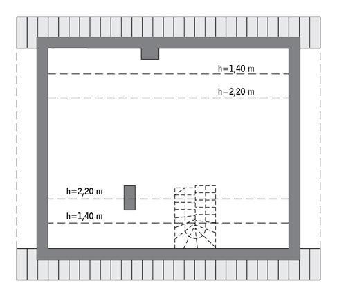 Rzut poddasza: Do indywidualnej adaptacji (45,5 m2 powierzchni użytkowej)