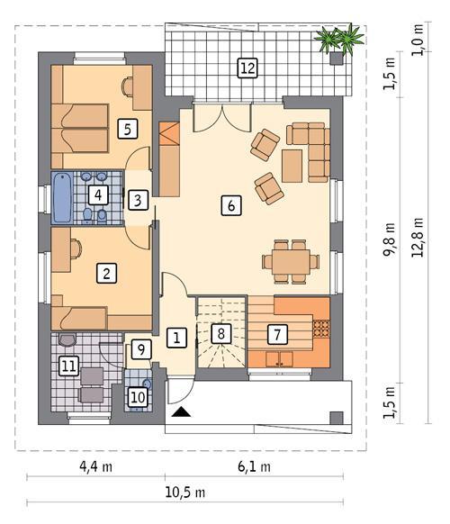Rzut parteru POW. 89,3 m²