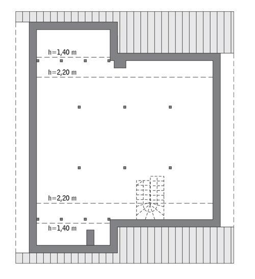 Rzut poddasza: Do indywidualnej adaptacji (83,1 m2 powierzchni użytkowej)