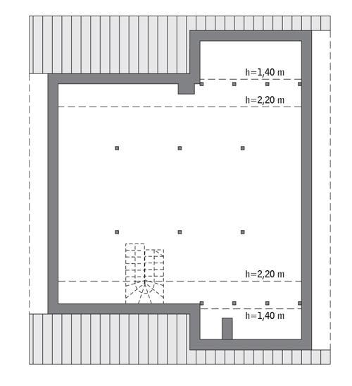 Rzut poddasza lustro: Do indywidualnej adaptacji (83,1 m2 powierzchni użytkowej)