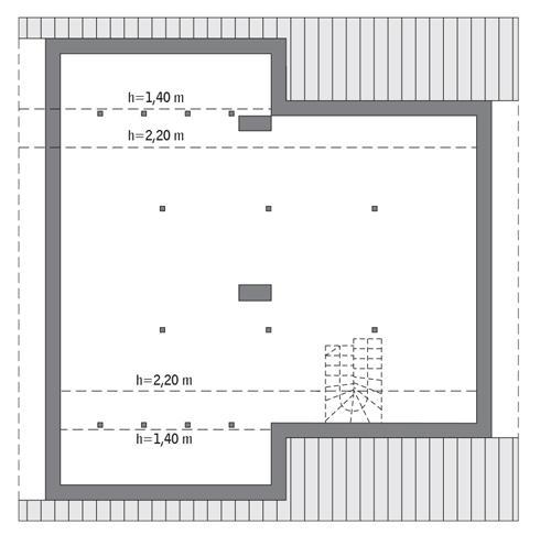 Rzut poddasza: Do indywidualnej adaptacji (97,6 m2 powierzchni użytkowej)
