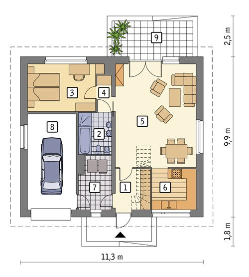 Rzut parteru POW. 86,8 m²