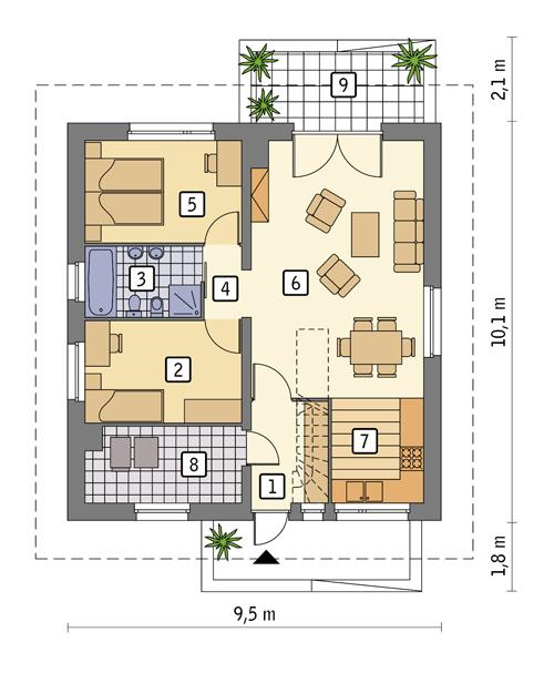 Rzut parteru POW. 74,6 m²