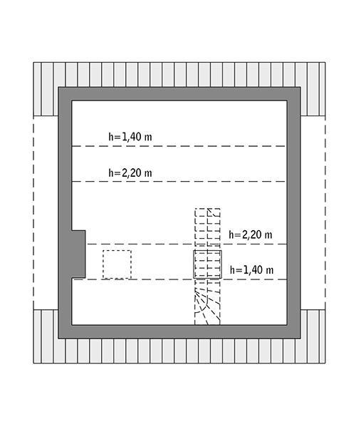 Rzut poddasza: Do indywidualnej adaptacji (20,3 m2 powierzchni użytkowej)
