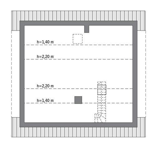 Rzut poddasza: Do indywidualnej adaptacji (43,0 m2 powierzchni użytkowej)