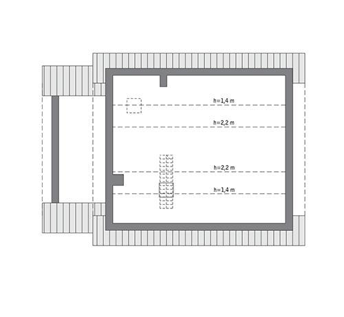 Rzut poddasza: Do indywidualnej adaptacji (44,7 m2 powierzchni użytkowej)