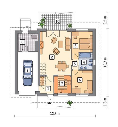 Rzut parteru POW. 97,3 m²