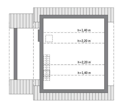 Rzut poddasza: Do indywidualnej adaptacji (32,0 m2 powierzchni użytkowej)