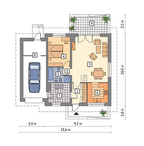 Rzut parteru POW. 94,2 m²