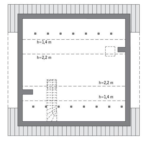Rzut poddasza: Do indywidualnej adaptacji (41,9 m2 powierzchni użytkowej)